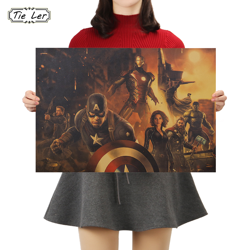 TIE LER Movie Series Hero Character Kraft Paper Poster Nostalgic Vintage Poster Home Art Wall Sticker Decoration 50.5x35cm