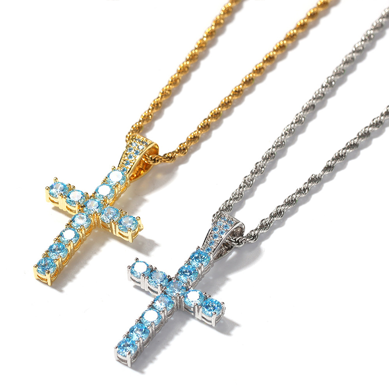 New Men Women Customize Gold Color Iced Tennis Blue White CZ Zircon Cross Necklace With Stainless Steel Chain Fashion Jewelry