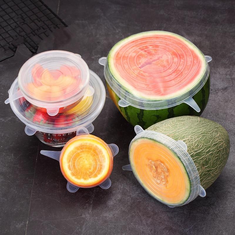 Universal 6 Teile/satz Lebensmittel Silikon Abdeckung Kappe Silikon Deckel Für Kochgeschirr Schüssel Obst Wiederverwendbare Stretch Deckel Küche Zubehör