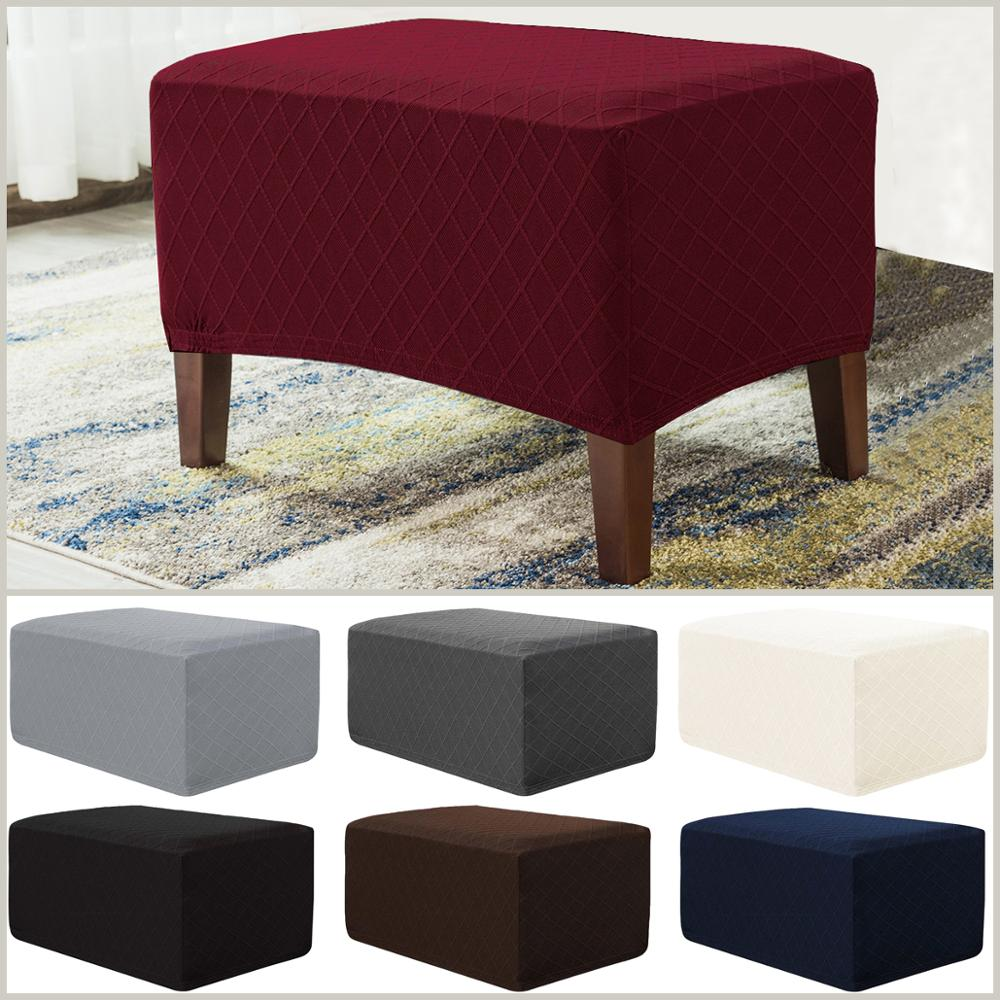 rhombus jacquard oversized storage ottoman slipcover spandex rectangle footstool sofa cover furniture protector for living room