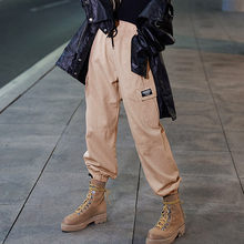 Womens Pocket Bandage Splice Pants High Waist Loose Beam Foot Sports Overalls Pants fashion Women Chic Unique Charm Pants(China)