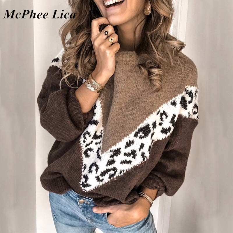 Women Patchwork Leopard Print Sweater Female Thick Loose Long Sleeve Sweater Pullovers Pull Femme Plus Size Winter Clothes #57