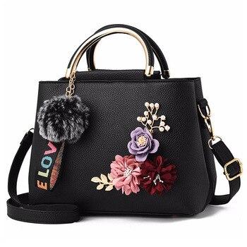 Bolsa de couro feminina bolsa de ombro tote flores concha sac a principal femme rebites bola de pele pingente de luxo designer senhoras