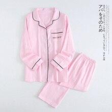 2019 Pajamas Band 100% Cotton Pyjamas Women Sets Couple Spring Long Sleeve Sleepwear V-Neck Femme Lounge Pijama mujer
