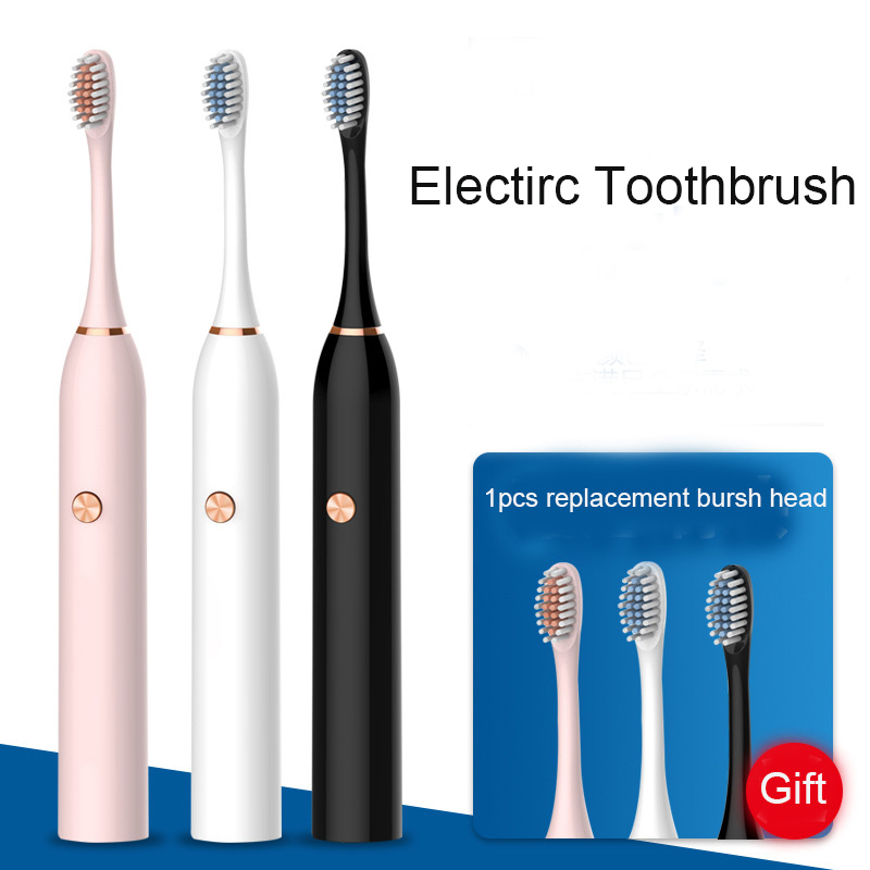 Sonic Electric Toothbrush Ultrasonic Automatic Tooth Brush battery Operated Oral Hygiene Waterproof dental Cleaning 2pcs head