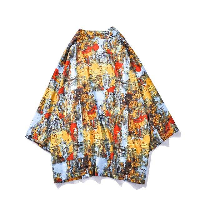 Satin Male Kimono Gown Japanese Traditional Clothing Japanese Short Robe Loose Kimono  Japanese Cardigan Kimono Japones Haori