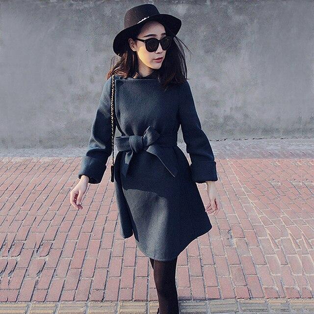 Фото 2020 осенне зимнее модное женское шерстяное пальто с бантом цена