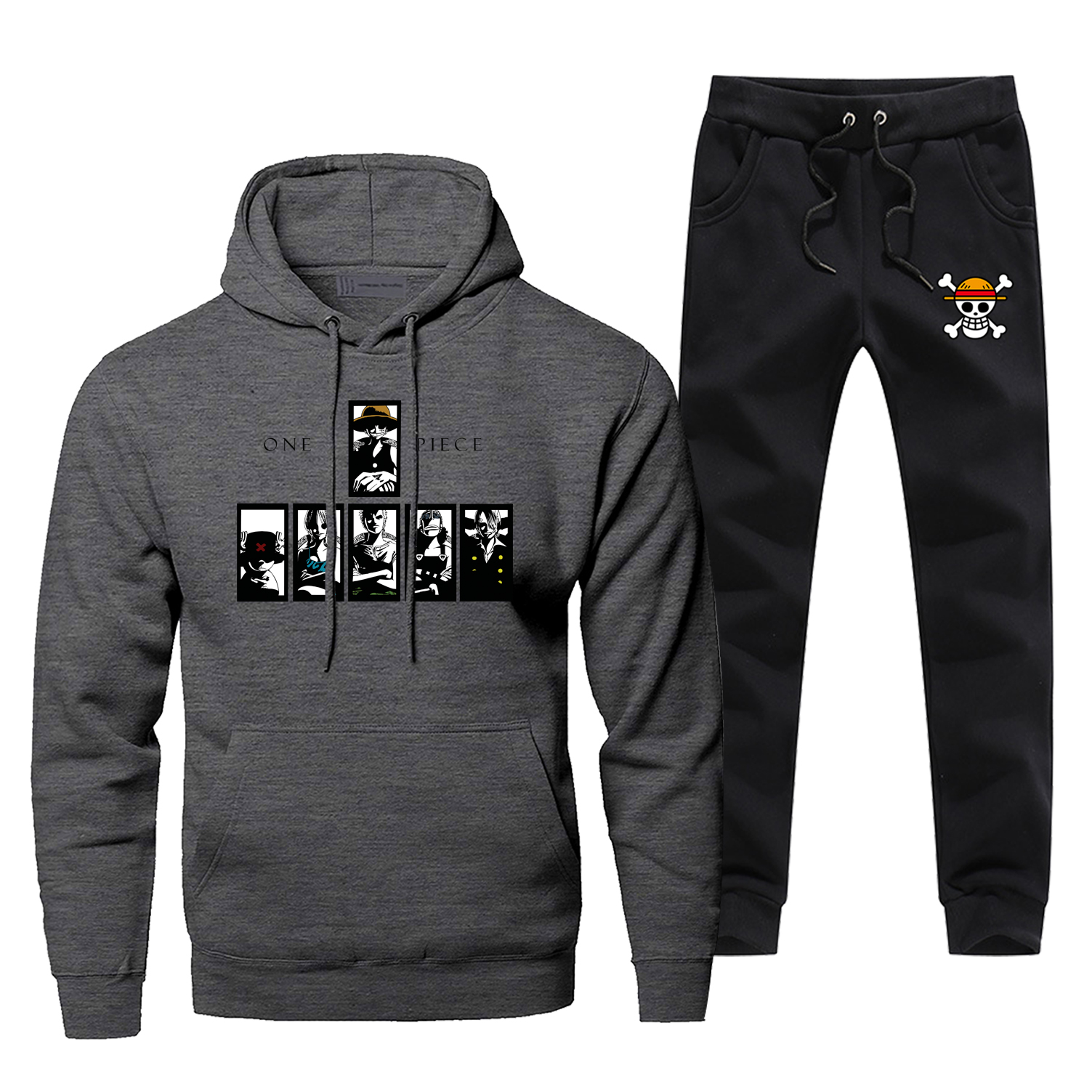 One Piece Luffy Hoodie Pants Set Men Sweatshirt Male Hoodies Sweatshirts Mens Sets Two Piece Pant Pullover Japanese Anime Coat