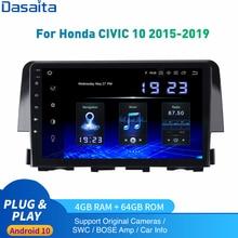 Dasaita Android 10 Car Radio 1 Din For Honda Civic Multimedia 2015- 2019 Autoradio DSP IPS 1280*720 Carplay 4Gb+64Gb HDMI Output