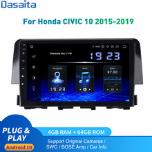Dasaita Android 10 Car Radio 1 Din For Honda Civic Multimedia 2015- 2019 Autoradio DSP IPS 1280*720 Carplay 4Gb+64Gb HDMI Output