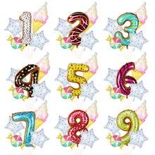 Donut-Globos de helio para Fiesta Temática, 0-9, globo de aluminio con número, helado, decoración de fiesta de cumpleaños, baby shower para niños