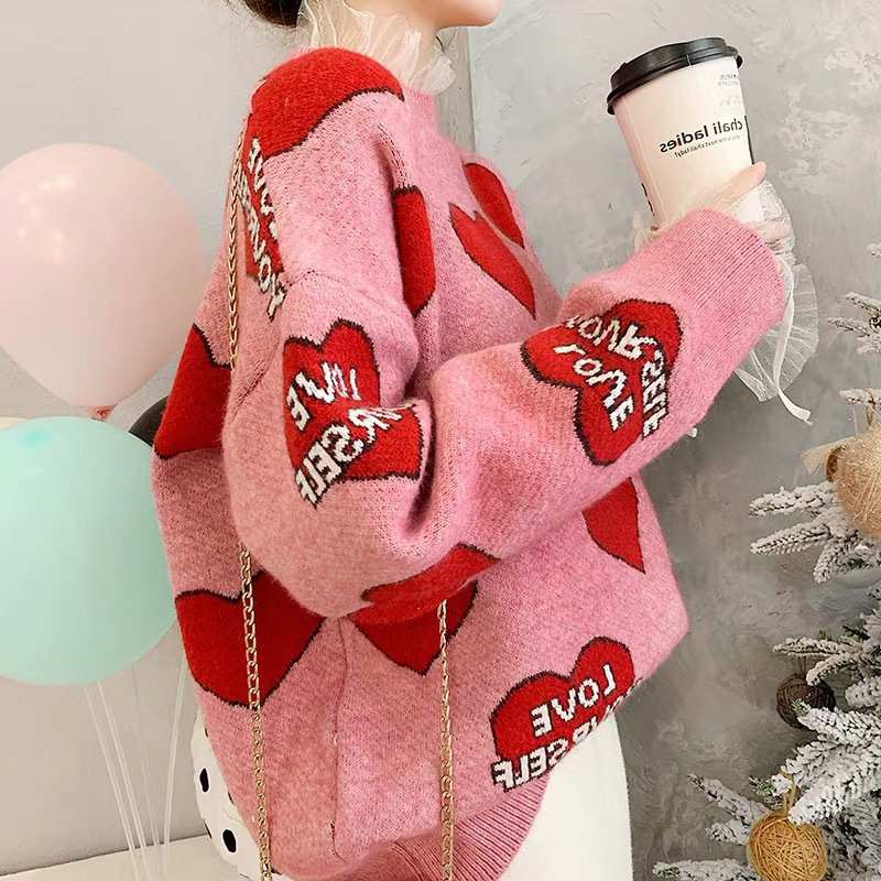 H.SA Women Oversized Sweater and Pullovers Oneck Sweet Heart Letters Printed Pull Jumpers Long SLeeve Pink Streetwear Knit Tops 4