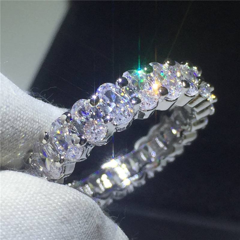 ZAKOL Brand Eternity Rings for Women Luxury Oval Cubic Zirconia Finger Ring Fashion Wedding Jewelry Femme Girls Couples Gift