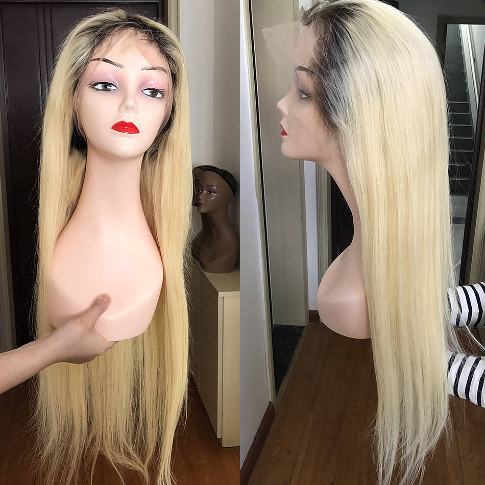 Luvin 613 blonde Lace Front Wig Straight Brazilian Remy Human Hair Ombre T1B/613 Lace Frontal Wigs For Women Long Full Wig-in Human Hair Lace Wigs from Hair Extensions & Wigs    2
