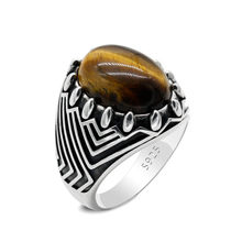 Vintage 925 Sterling Silver Men's Ring Oval Natural Tiger Eye Stone Turkey Constantinople Auspicious Husband Wedding Ring