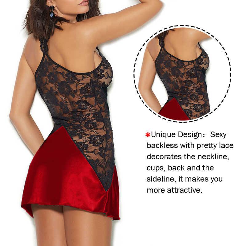 Женское сексуальное пляжное платье с v-образным вырезом, нижнее белье, ночное платье без рукавов, Женская атласная ночная рубашка размера плюс, черное кружевное Ночное платье