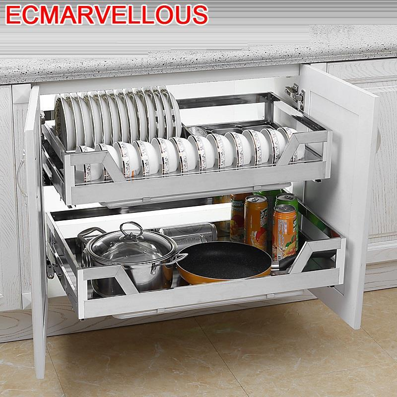 Malzemeleri Armario De Despensa Cestas Para Colgar En La Ducha Stainless Steel Cocina Cuisine Kitchen Cabinet Storage Basket