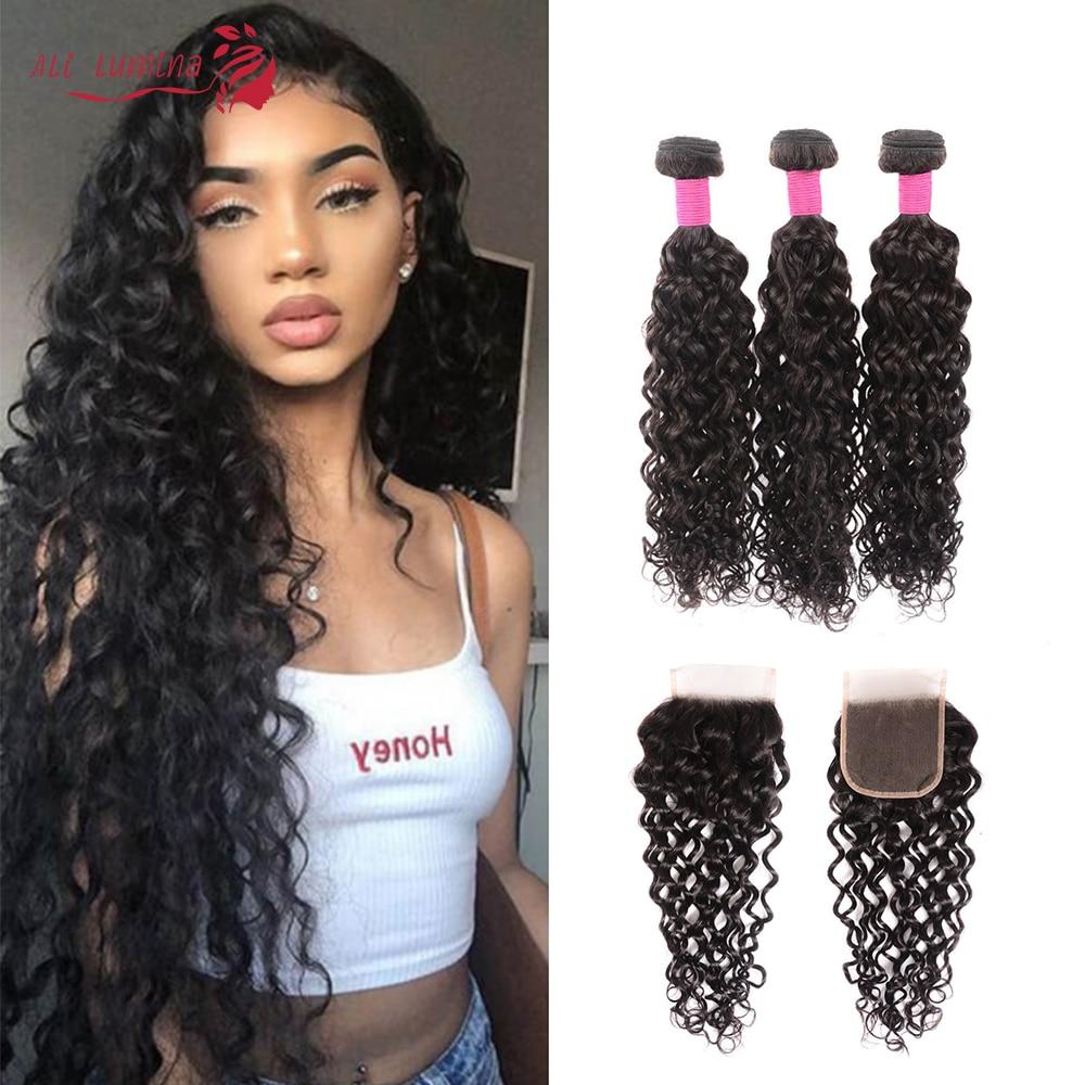 Water Wave 3 Bundles With Closure Human Hair Bundles With Closure Lace Closure Remy Human Hair Extension Brazilian Hair