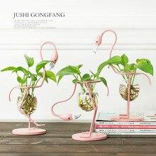 3 типа розовый Фламинго Форма стекло настольное растение бонсай цветок Свадьба Рождество декоративная металлическая ваза аксессуары для дома