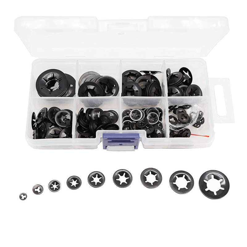 260Pcs M2-M12 Tooth Starlock Push On Locking Washers Speed Clips Fasteners Assortment Quick Speed Locking Washers