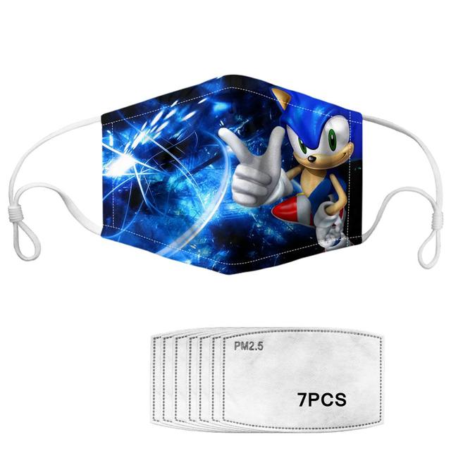 Kids Children Cartoon Pretty Sonic Print Masks Fashion Breathable Anti Dustproof Thicken Face Mouth Mask Clothing accessories 1