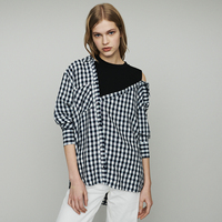 Jastie Open Shoulders with Long Sleeve Spring Autumn Shirt Blouse Top Layered Shirt Gingham Women Tops Blouses Shirts Blusas