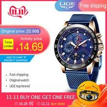 ליגע אופנה Mens שעונים למעלה מותג יוקרה שעוני יד קוורץ שעון כחול שעון גברים עמיד למים ספורט הכרונוגרף Relogio Masculino