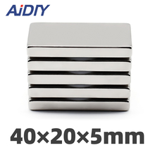 AIDIY 1/5/20 Pcs 40mm x20mm x 5mm N35 Neodymium Magnet Super Strong Power Rare Earth Magnets Cuboid Block 40 * 20