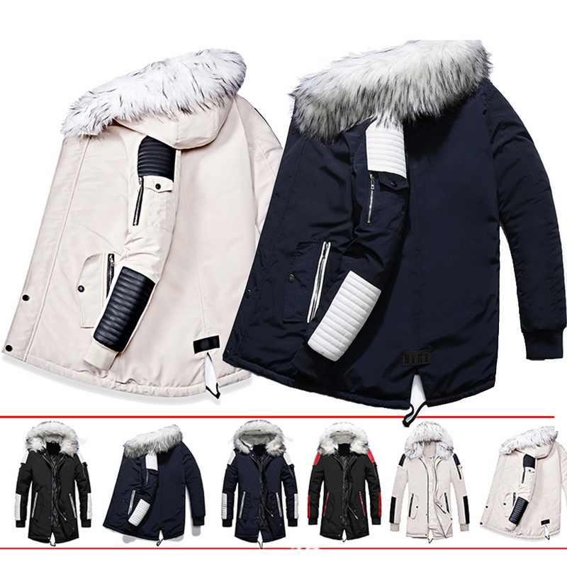 Litthing 2019 ฤดูหนาวใหม่ Faux FUR COLLAR ยาวหนาผ้าฝ้าย Parkas เสื้อแจ็คเก็ตเสื้อผู้ชาย Hooded กระเป๋า Outwear แจ็คเก็ตกันน้ำ Parka
