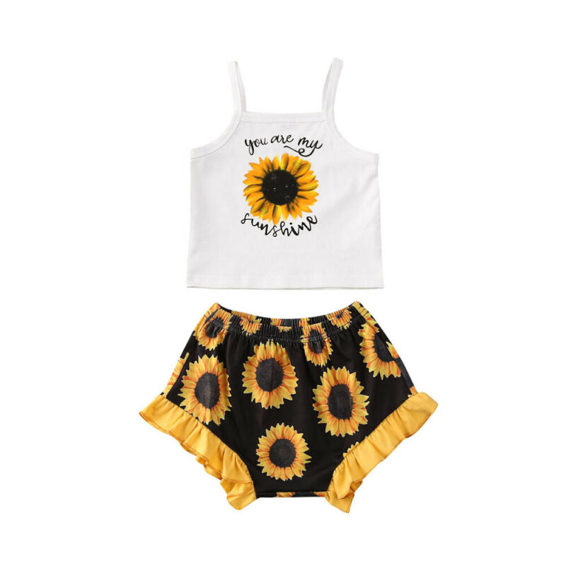 Pudcoco Summer Baby Kids Girls Toddler Tank Top Vest+Shorts 2Pcs Sets Outfits Clothes Girls Button Print Fashion Sunsuits