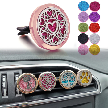 Rose Gold Car Air Freshener Essential Oil Diffuser Car Clip Aroma Diffuser Perfume Lockets Aromatherapy Locket Pendant Jewelry