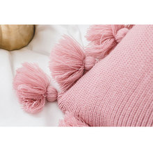 Simple Classic Knitted Pillowcase Lantern Wool Ball Cushion Tassel Weave Solid Color Home Office Nap Pillowcase Breathable