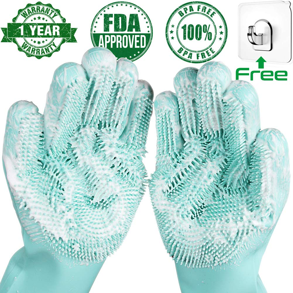 Scrub-Gloves Sponge Dish-Washing Magic Kitchen-Cleaning Silicone Rubber 1-Pair