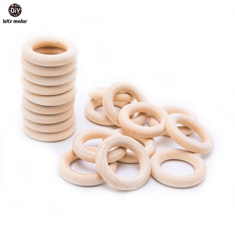 10//20Pcs Unfinished Wood Rings Wooden Teething Toy For Nursing Bracelet DIY
