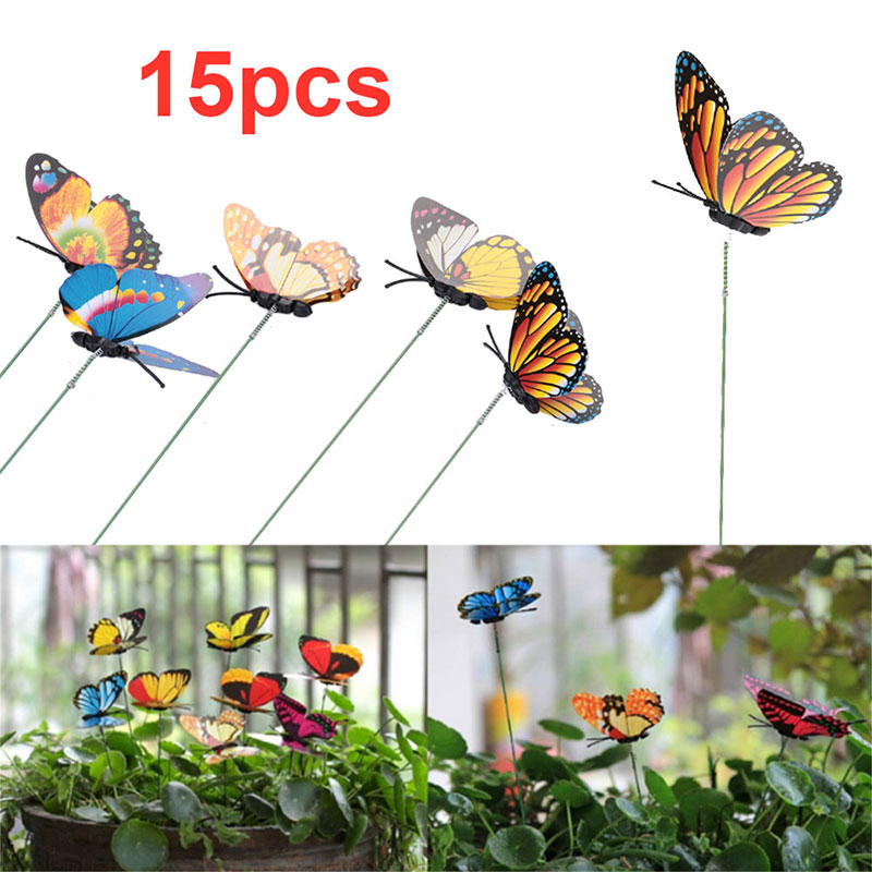 Lawn Decoration 15PCS Garden Art Artificial Insect Butterfly Garden Decor Lifelike Plastic 3D Flowerpot 3D Flowerpot Home Decor