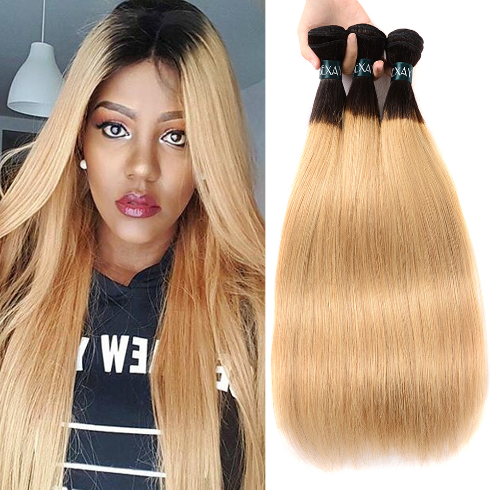 us $60.39 39% off|sexay blonde straight ombre human hair weaves 3 bundles 2 tone 1b/27 bleach blonde brazilian ombre hair weave bundle non remy-in