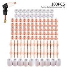 100Pcs Plasma Cutter Tip Electrodes Nozzles Kit Consumable Accessories For PT31 CUT 30 40 50 Plasma Cutter Welding Tools