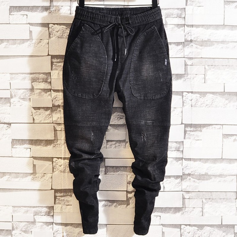 Spring Mens Elastic Waist Jeans Harem Pants Male Joggers Trousers Casual Hip Hop Denim Long Pants Streetwear Ankle Banded Pants