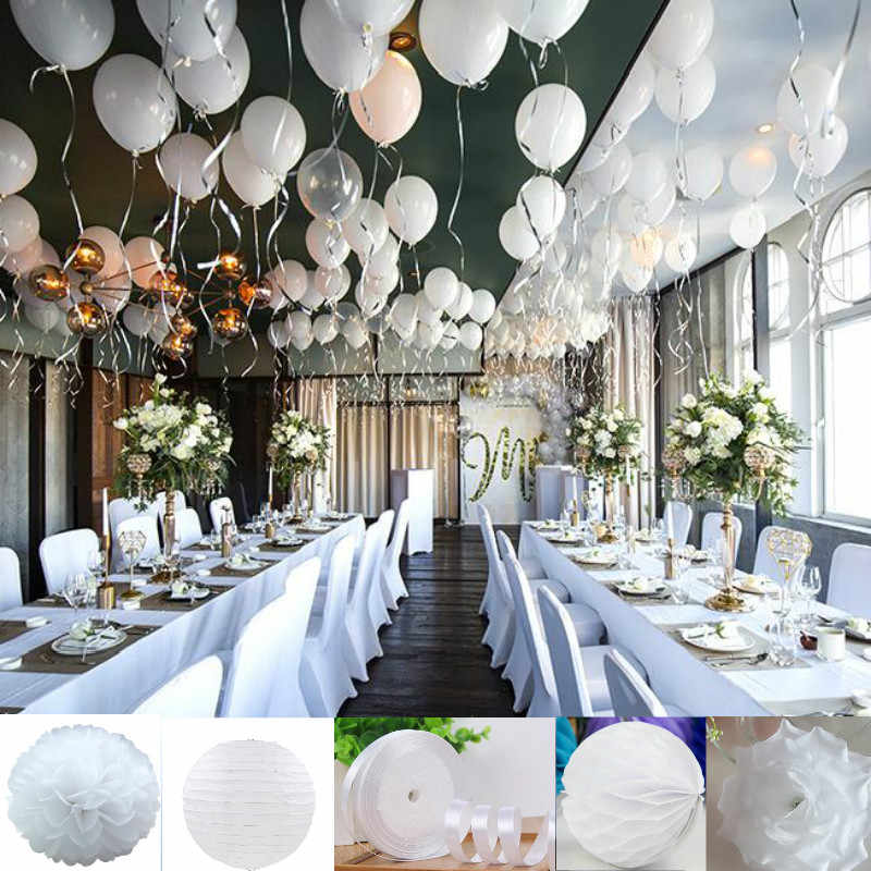 White Theme Style Party Wedding DIY Decorations ribbon/paper lantern/umbrella/balloon Artificial roses hydrangea flower balls