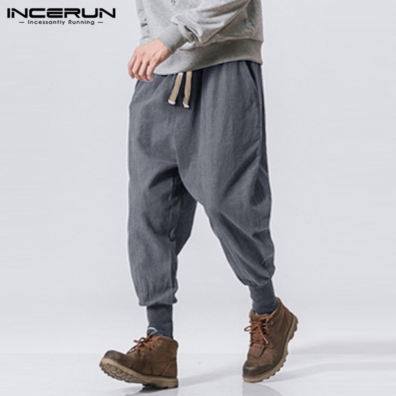 INCERUN Fashion Harajuku Men Solid Casual Harem Pants Mens Sweatpant Joggers Comfort Cotton Stretch Elastic Trousers Streetwear