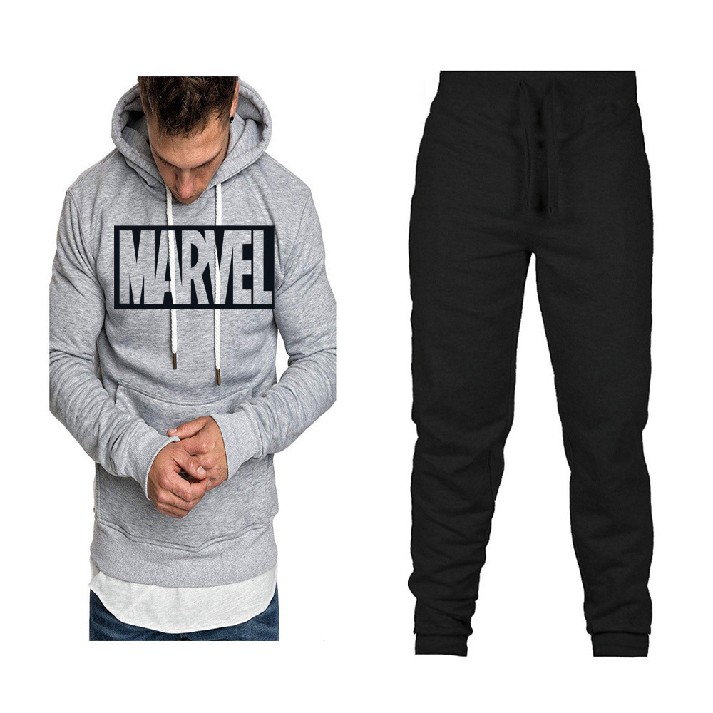 Fashion Brand Men And Women Mixed Colors Hoodie Spring And Autumn Set Plus Velvet Printed Coat Hoodie Sports Set