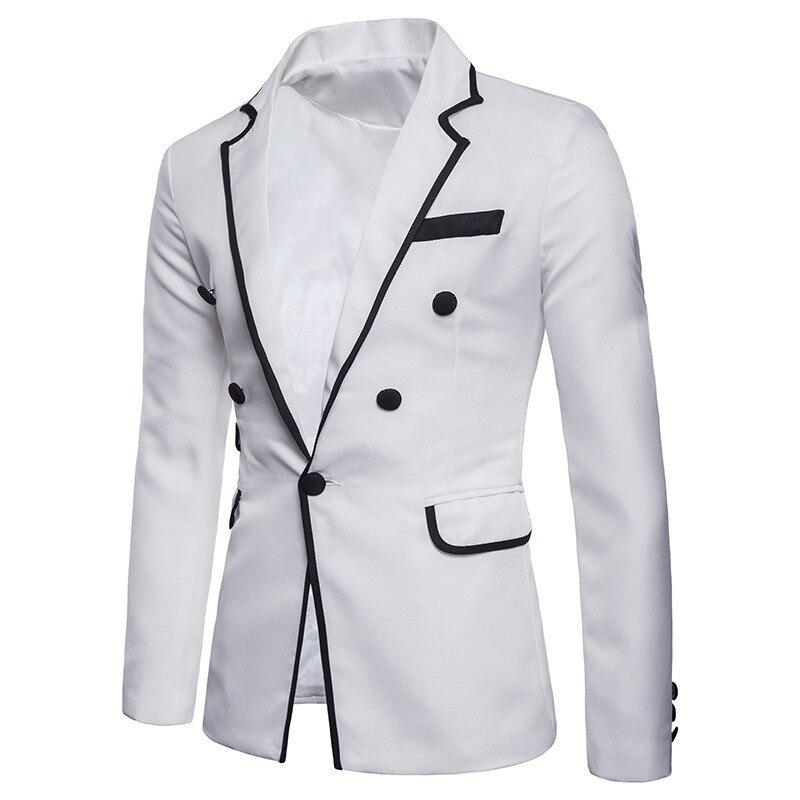 Black White Blazer Masculino Slim Fit New Fashion Single Button Mens Blazers Coats Autumn Male Button Long Sleeves Suit Jackets