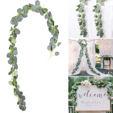 Artificial Green Eucalyptus Willow Leaves Garland Vine Wedding Greenery Home Birthday Party Table Wall Green Leaves Decoration