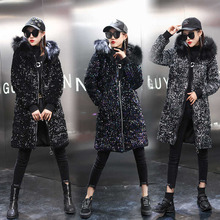 Women Cotton Hooded Sequin Jacket Winter Warm Large-Size Fashion High-Quality JK304 Medium-Length