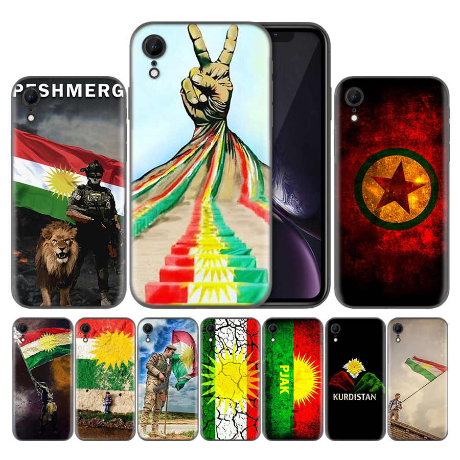 Kurdistan Flag 사자 소프트 블랙 TPU 전화 케이스 Apple iPhone XR X XS Max 7 8 6 6s Plus 5 5s SE 커버 Capa Back
