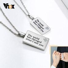 Vnox – collier de Couple, le monde a changé depuis que je vous ai rencontré, pendentif AAA CZ, icône de coeur croisé, bijoux de cou pour femmes et hommes, cadeau