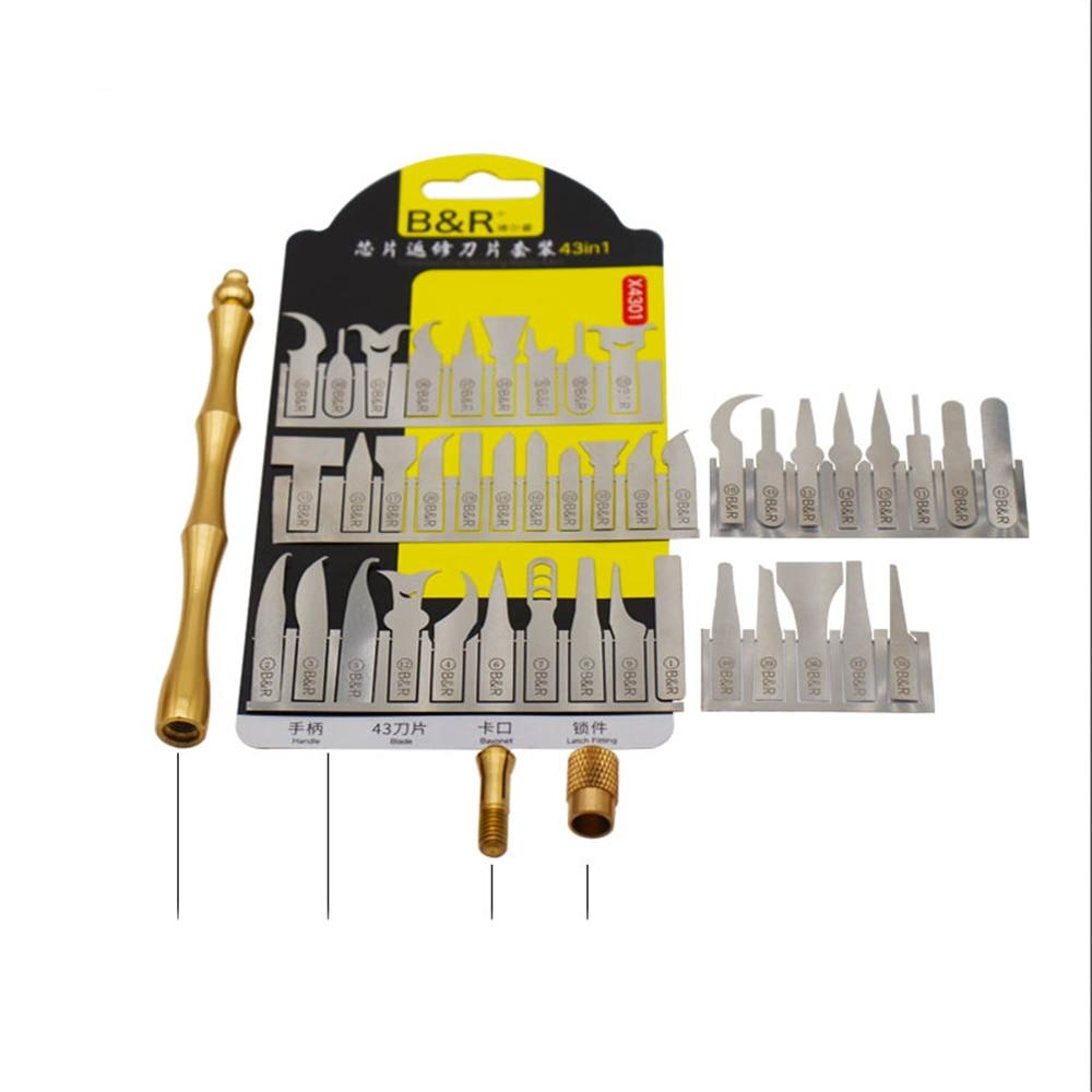 Купить с кэшбэком 43-in-1 chip repairing blade professional universal repairing mobile phone motherboard CPU BGA IC tool kitx 4301