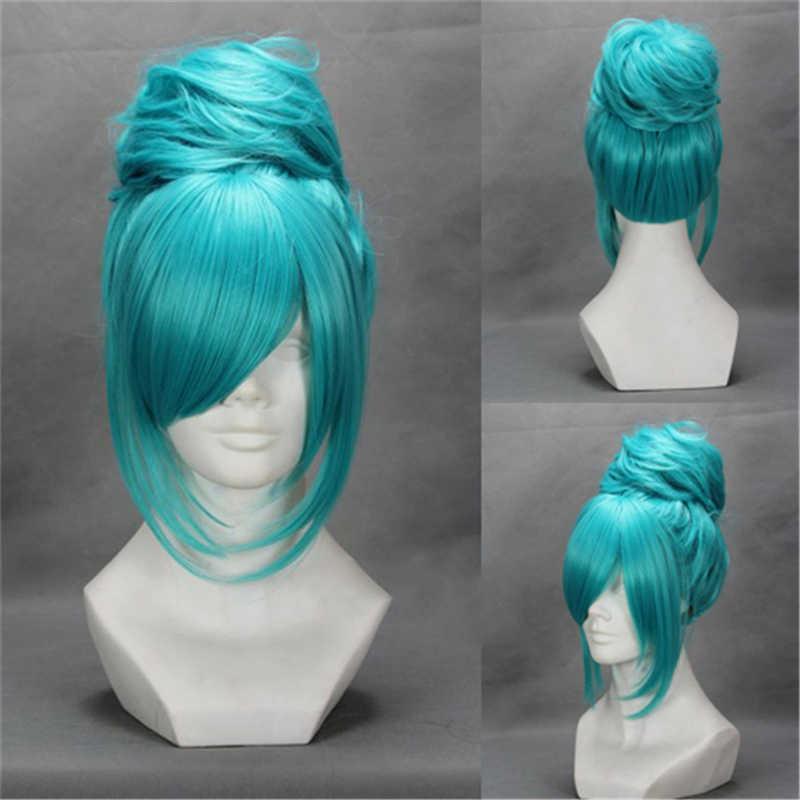 Vocaloid Hatsune Miku Project Diva 2nd Cosplay perruque bleu résistant à la chaleur synthétique cheveux perruques avec chignon + perruque bouchon