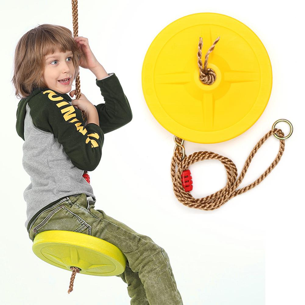 Outdoor Indoor Children Swing Disc Toy Seat Kids Round Rope Playground Playing Entertainment Activity Green Plastic Disc Swing