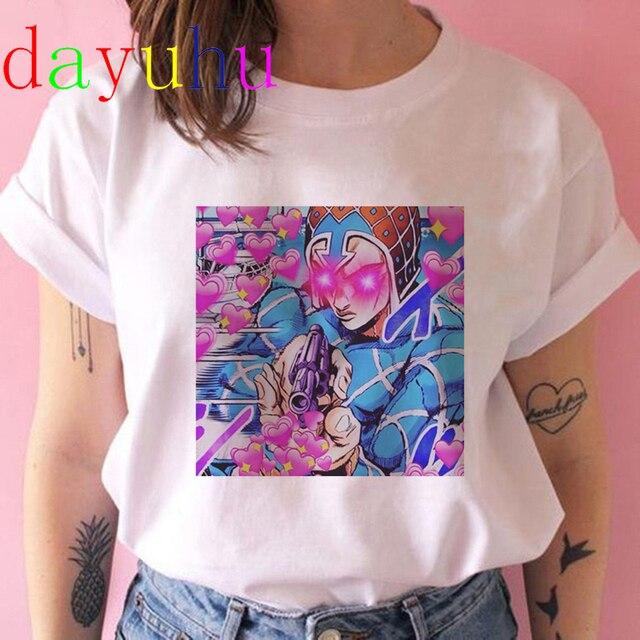 Jojo Bizarre Adventure T Shirt Women Japan Anime Summer Top T-shirt Kawaii Jojo Graphic Tshirt Plus Size Unisex Cartoon Female 5